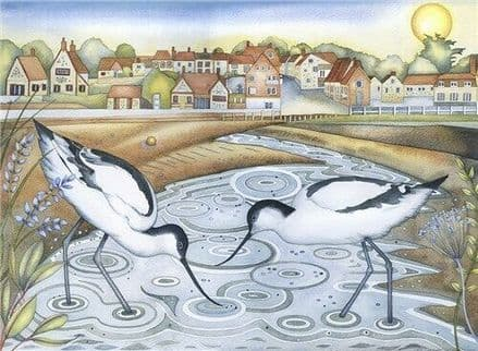Avocets at Low Tide - Fine Art Blank Greeting  Card - Wading Birds